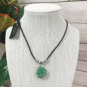 Handmade Wire Wrapped Green Stone Necklace